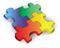 Four color puzzles. On a white background Stock Photo