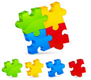 Four color puzzles Royalty Free Stock Images