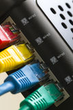 Four color RJ45 LAN connection. On the back of the router Royalty Free Stock Photos