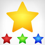 Four color rounded star element set isolated Stock Image