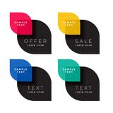 Four color sale banner set. Vector Stock Image