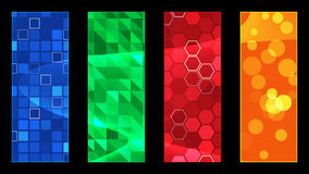 Four Color Shapes. Four colored rectangles each with different color and array of shapes on the black background Royalty Free Stock Photos