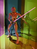 Four color Sith. Sith or Jedi with his laser sabre, inside a colour  mirrors corridor Royalty Free Stock Photo