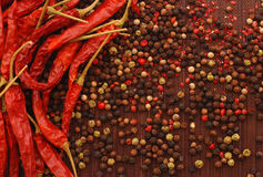 Four color spice and red pepper Royalty Free Stock Image