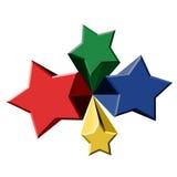 Four color stars Stock Photos