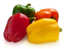 Four color sweet peppers Stock Photo