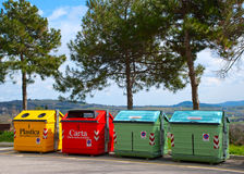 Four color trash cans Royalty Free Stock Photography