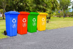 Four color trash cans Stock Photo