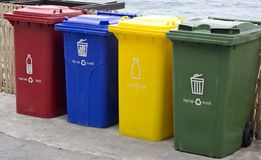 Four color trash cans. Four color trash cans in the park beside the walk way Stock Photography