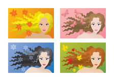 Four color types of beauty Stock Photography