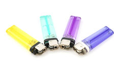Four color of used lighter Stock Photos