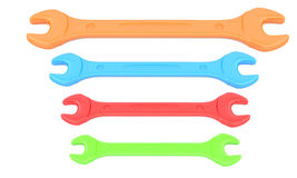 Four color wrenches Royalty Free Stock Photos