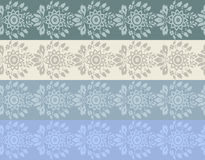 Four colore hand-drawn flower border Stock Image