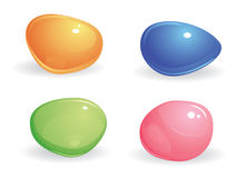 Four colored gems. Four small, smooth, shiny, differently colored gems. blue, green, pink and yellow stones on a white background royalty free illustration