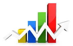 Four colored 3d graph with white arrow. On white background Royalty Free Stock Image