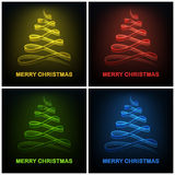 Four colored abstract christmas tree glowing bow design Stock Images