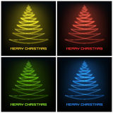 Four colored abstract christmas tree glowing lines design Stock Images
