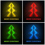 Four colored abstract christmas tree modern design Royalty Free Stock Photos