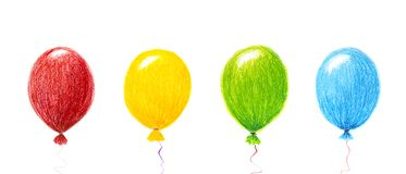 Air balloons, crayon pencil drawing, isolated on white royalty free stock images