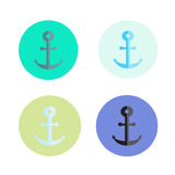 Four colored anchors, background about sea motive, holidays, geometry. Background in green and blue tones. Wallpaper witn anchor Royalty Free Stock Photos