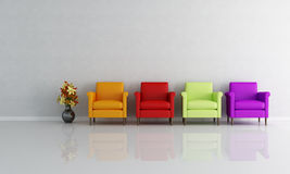 Four colored armchair. In a empty living room - rendering Royalty Free Stock Photos