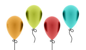 Four colored balloons isolated Royalty Free Stock Photo