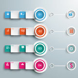 Four Colored Banners White Rings Batched Rectangle Stock Images