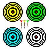 Four colored boards for playing darts royalty free illustration
