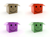 Four colored box icon with smile face isolated Royalty Free Stock Image