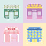 Four colored buildings. Vector illustration of sweet home, school, store and office tower Stock Photo