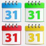 Four colored calendar icons Royalty Free Stock Photography