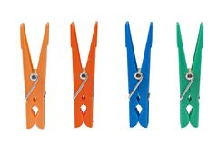 Four colored clothespin isolated on white Royalty Free Stock Photography