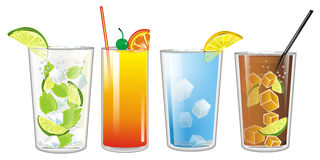 Four colored cocktails Stock Photos