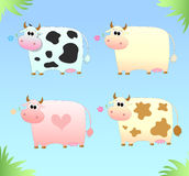 Four colored cow Royalty Free Stock Images