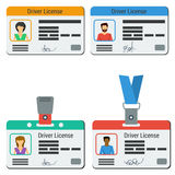Four colored drivers license Stock Photos