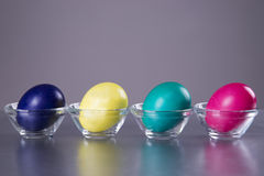 Four colored eggs in a cup on a gray background Stock Photos