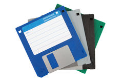 Four colored floppy disks. Over a white background Royalty Free Stock Photography