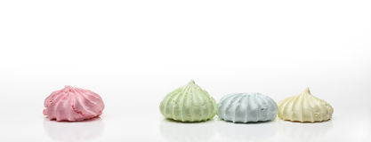Four Colored French Meringues Stock Images
