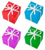 Four colored gift boxes Stock Image