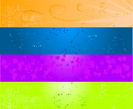 Four colored grunge banner Stock Photos