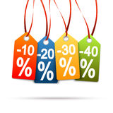 Four colored hangtags with discounts Stock Photos