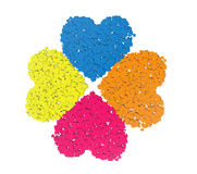 Four colored hearts in the form of cubes Royalty Free Stock Image