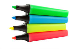 Four colored highlighters set Stock Photos