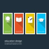 Four colored icons depicting items for education Royalty Free Stock Photo