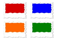 Four colored jagged labels Royalty Free Stock Image