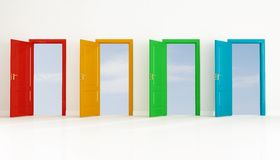Four colored open door Stock Photos