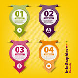 Four colored paper arrows in infographic style Stock Images