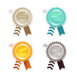 Four colored paper badges with place for your own text. Royalty Free Stock Image