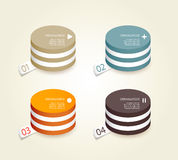 Four colored paper circles. Royalty Free Stock Photo