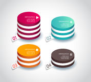 Four colored paper circles with place for your own text. Stock Photos